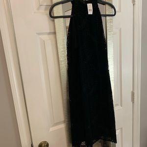 Black velvet eyelet dress